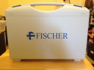 Carrying case for the R.A. Fischer Iontophoresis device. The case comes apart to become two tap water trays for the treatments.